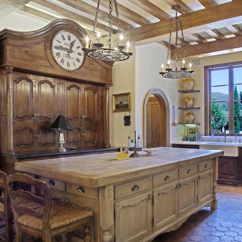 Kitchen cabinet with antique clockx (2)