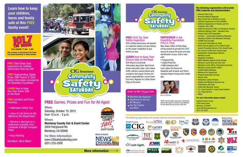 Community Safety Saturday Monterey 2015  Flyer - both pages