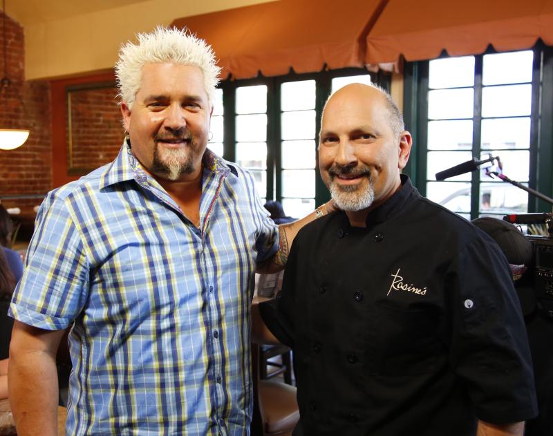 Guy Fieri and Jim Culcasi  Jr. at Rosines Restaurant